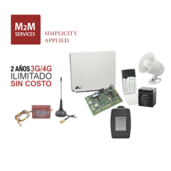 (2 Años 4G ILIMITADO INCLUIDO) Kit Alarma Runner4/8, comunicador MN02LTEM, incluye teclado de leds, batería, transformador y g