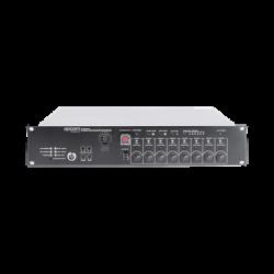 Controlador de Evacuación Por Voz   500 W   8 Zonas independientes   4 entradas de audio y 2 entradas de micrófono