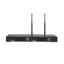 Receptor UHF para 2 micrófonos inalámbricos / Pantalla LCD de cristal liquido