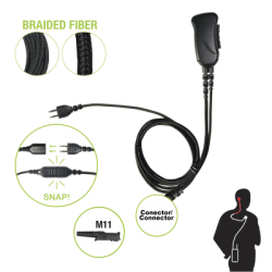 Micrófono con cable de fibra trenzada serie SNAP compatible con Motorola TRBO XPR3300/3500 Y SERIE E.