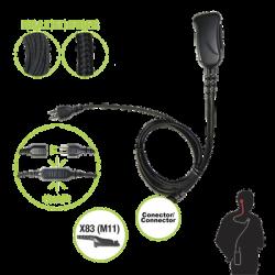 Micrófono con cable de fibra trenzada serie SNAP compatible con Motorola Serie APX y TRBO (XPR6XXX/7XXX).