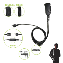 Cable de fibra trenzada serie SNAP compatible con KENWOOD conector de 2 pines para auricular