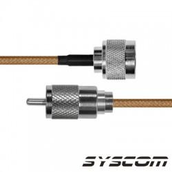 Cable Coaxial RG-142/U de 180 cm, con conectores N Macho a UHF Macho (PL-259).