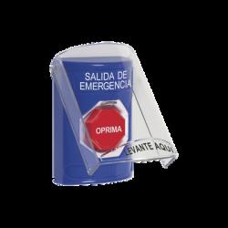 Botón de Salida de Emergencia, Texto en Español, Tapa Protectora de Policarbonato Súper Resistente y Restablecimiento con Lla