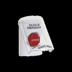 Botón de Salida de Emergencia con Tapa Protectora de Policarbonato Súper Resistente y Restablecimiento con Llave