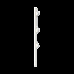 """Poste de Paso Blanco de 0.75m para Cerca Electrificada. Tubo Galvanizado cal. 18 de 1""""Diam. con Tapón y 3 Aisladores Instalados"""