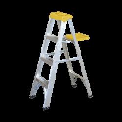 Escalera de aluminio tipo tijera de 3 peldaños altura 1.21 metros