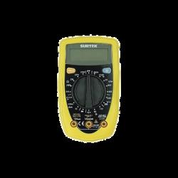 Multimetro digital compacto tamaño palm, 500 VCD/500 VCA rango manual con una bateria incluida.