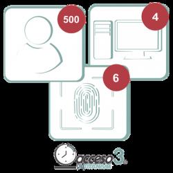 Licencia de 3 años para software Acceso3 TITANIUM / 500 Empleados / 6 reloj / 4 PCf