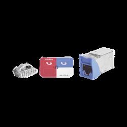 Jack Z-MAX Cat5e, Blindado, Montaje híbrido en Placa de Pared (Plano y Angulado), Color Azul, Versión Bulk (Sin Empaque Indivi