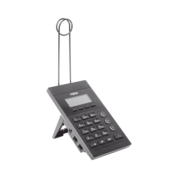 Teléfono IP para Call Center para 2 lineas SIP con soporte para diadema, pantalla 128x48 retro-iluminada, PoE