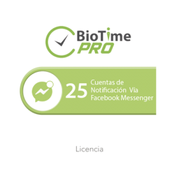 Software de Gestión Centralizada de Asistencia BIOTIMEPRO Licencia para agregar 25 cuentas de notificación vía Facebook Messe