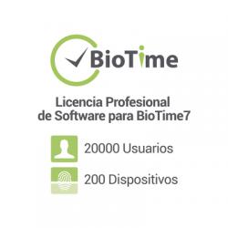 Licencia Profesional de software para BioTime7 / 200 dispositivos / 20,000 empleados / Licencia vitalicia