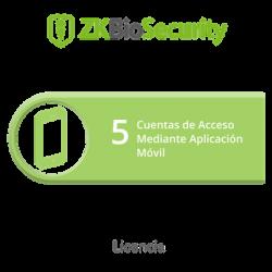 Licencia para ZKBiosecurity para 5 cuentas de acceso mediante aplicación móvil