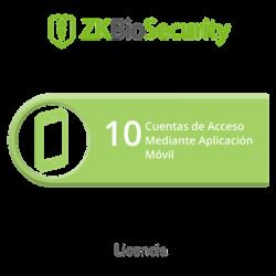 Licencia para ZKBiosecurity para 10 cuentas de acceso mediante aplicación móvil