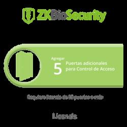 Licencia para ZKBiosecurity permite agregar 5 puertas adicionales (requiere licencia de 25 puertas o mas)