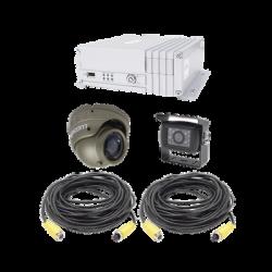 Sistema de videovigilancia móvil AHD todo en uno, incluye MDVR de 4 canales análogo AHD que soporta almacenamiento en Disco du
