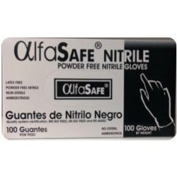 Guante Nitrilo Negro para examen no estéril Caja x 100 u Alfa Safe
